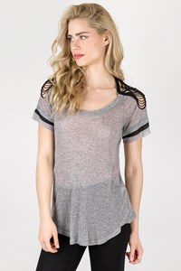 Isabel Marant Grey Cut-Out Shoulder Top / Size: L - Fit: M