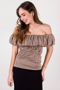 Yves Saint Laurent Beige Off-the-shoulder Silk Top / Size: L - Fit: S