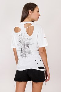 Dsquared2 White Cotton Ripped T-Shirt/ Size: XL - Fit: M