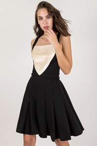 Chanel Black Wool Pleated Dress / Size: 40 - Fit: S / M