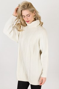 Jaeger Ecru Wool Knitted Sweater / Size: M - Fit: True to size