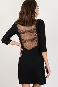 Black Dress with Lace and Strass at the Back / Size: ? - Fit: S