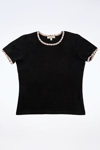 Burberry London Black Stretch Cotton Crop Top with Check Printed Details / Size: S - Fit: True to size