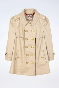 Juicy Couture Beige Cotton Lightweight Coat with Gold Buttons / Size: S - Fit: XS