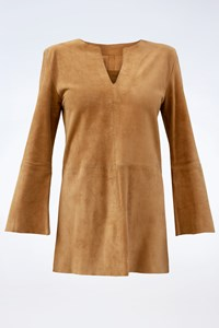 Patricia Viera Tan Suede Leather Top / Size: XS - Fit: True to size