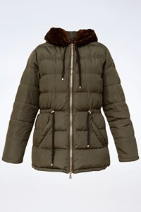 Prada Κhaki Puffer Jacket with Faux Fur / Size: M - Fit: S / M