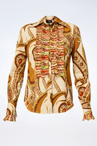 Etro Multicoloured Printed Shirt with Ruffles / Size: 42 IT - Fit: S
