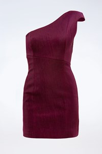 Jasmine di Milo Plum Mini One Shoulder Dress / Size: 36 - Fit: XS
