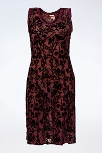 Voyage Plum Transparent Dress with Velvet Details / Size: One size - Fit: XS
