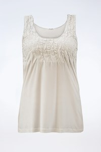 Miu Miu Ice Grey Sleeveless Blouse with Ruches / Size: M - Fit: S / M