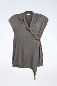 Brunello Cucinelli Grey Cashmere Short Sleeved Top with leather fastening/ Size: XXL - Fit: S / M