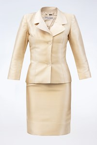 Dolce & Gabbana Champagne Silk Skirt Suit / Size: 38 IT - Fit: XS