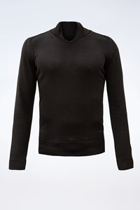 CoSTUME NATIONAL Black Wool V-Neck Blouse / Size: Μ - Fit: S