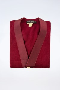 Salvatore Ferragamo Burgundy Wool Cardigan with Logo Buttons / Size: S - Fit: True to size