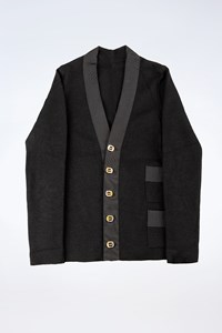 Salvatore Ferragamo Black Wool Cardigan with Logo Buttons / Size: ? - Fit: XS / S