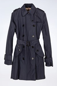 Burberry Brit Navy Blue Nylon Waterproof Trench Coat Style with Pouch