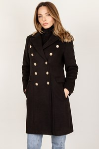 Balmain Black Double-Breasted Wool Coat / Size: ? - Fit: XS / S