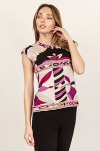 Emilio Pucci Multicoloured Silk Printed Sleeveless Top / Size: 14 - Fit: S